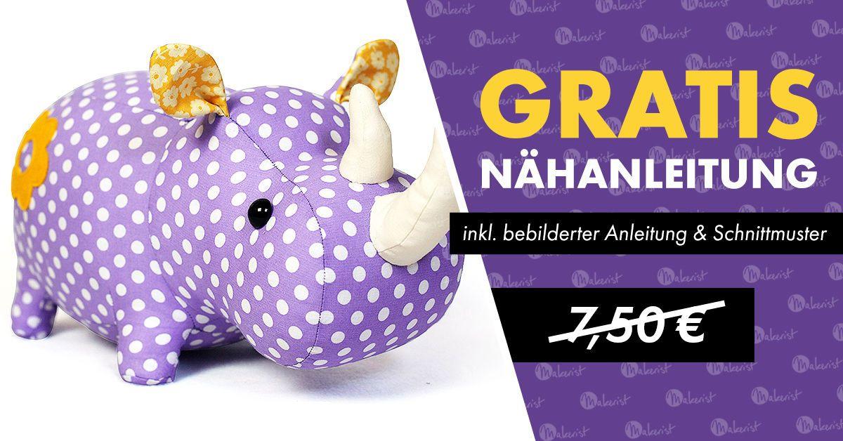 Nähanleitung und Schnittmuster Stofftier nashorn - Nähanleitungen ...