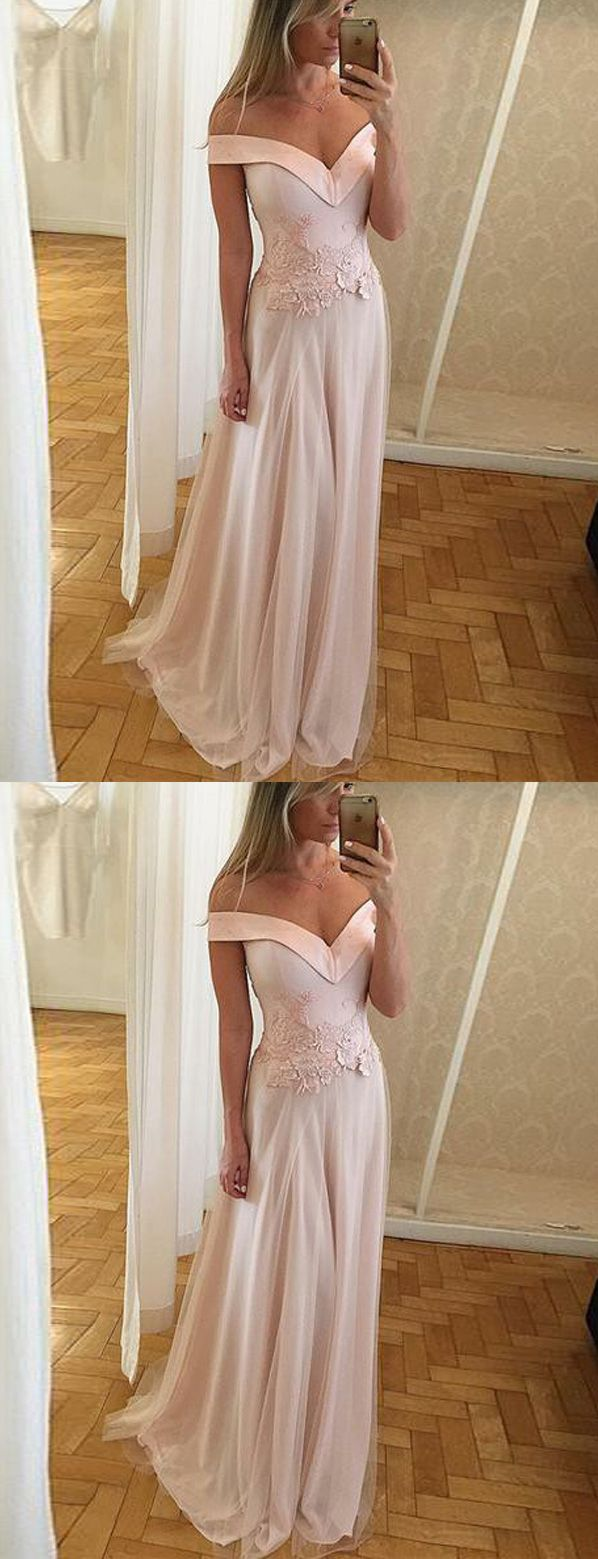 Modest a line off shoulder long light pink satin promevening dress