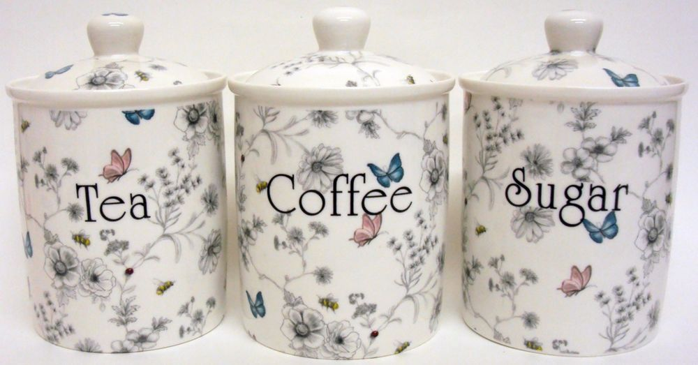 Secret Garden Tea Coffee Sugar Canisters Bone China Storage Jars