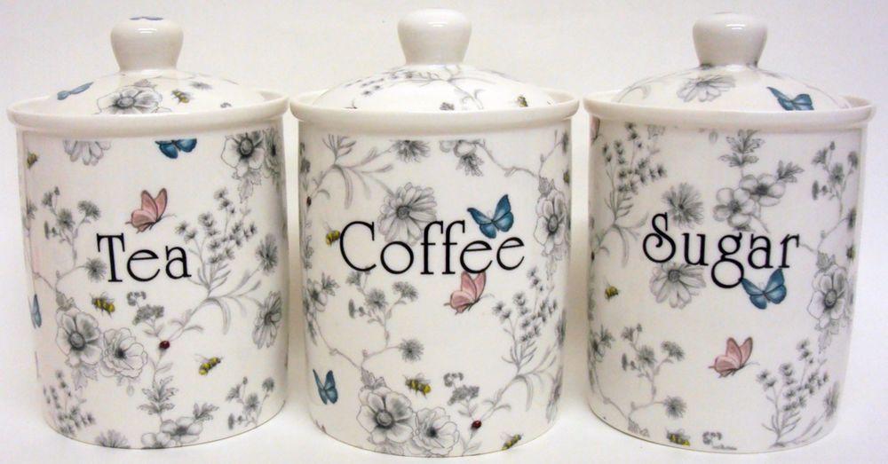 Secret Garden Tea Coffee Sugar Canisters Bone China Storage Jars