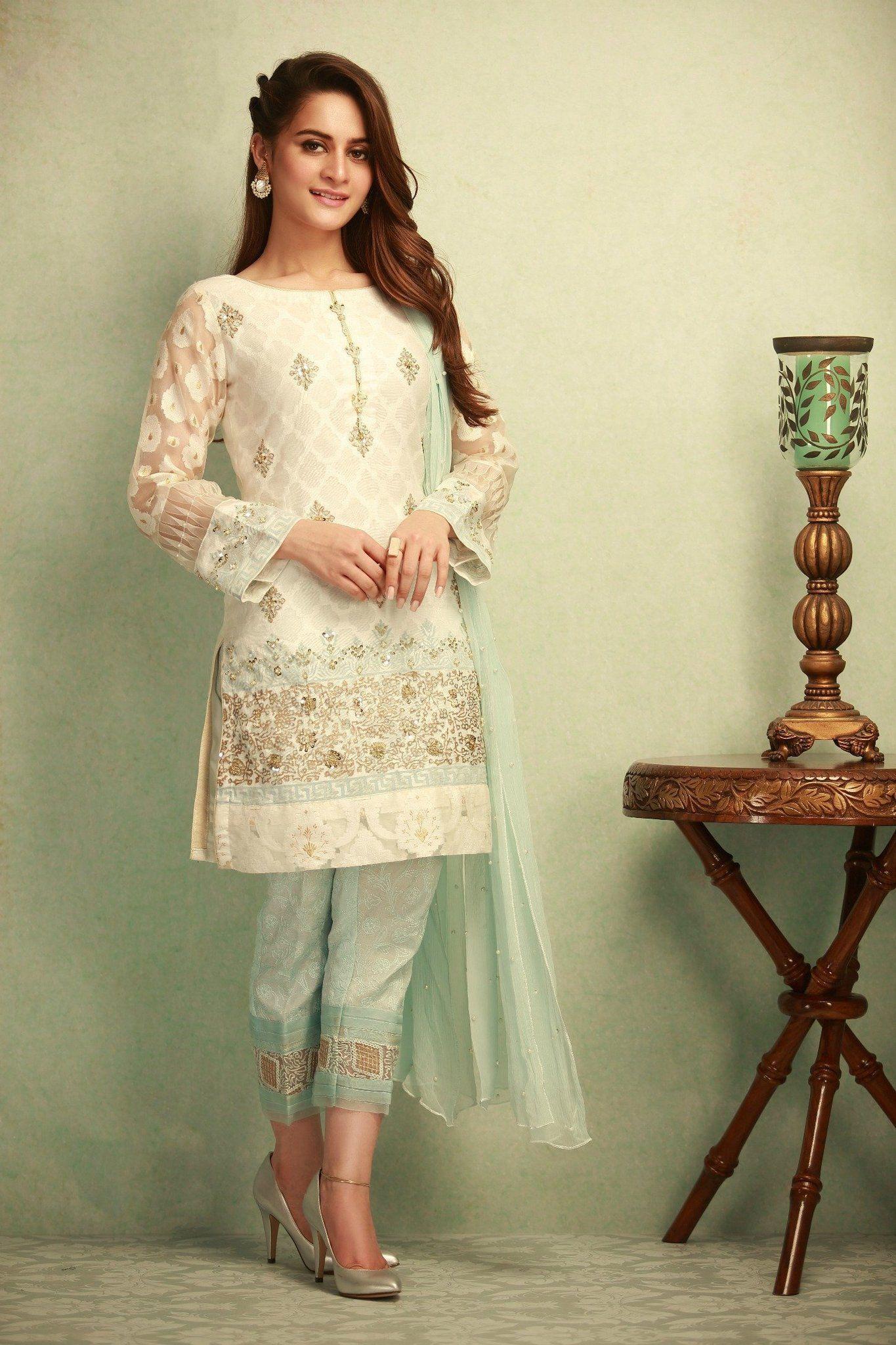 59f00e1837 Self-Printed White Khadi Net Stitched 3 Piece Pakistani Dress On A Discount  Price For