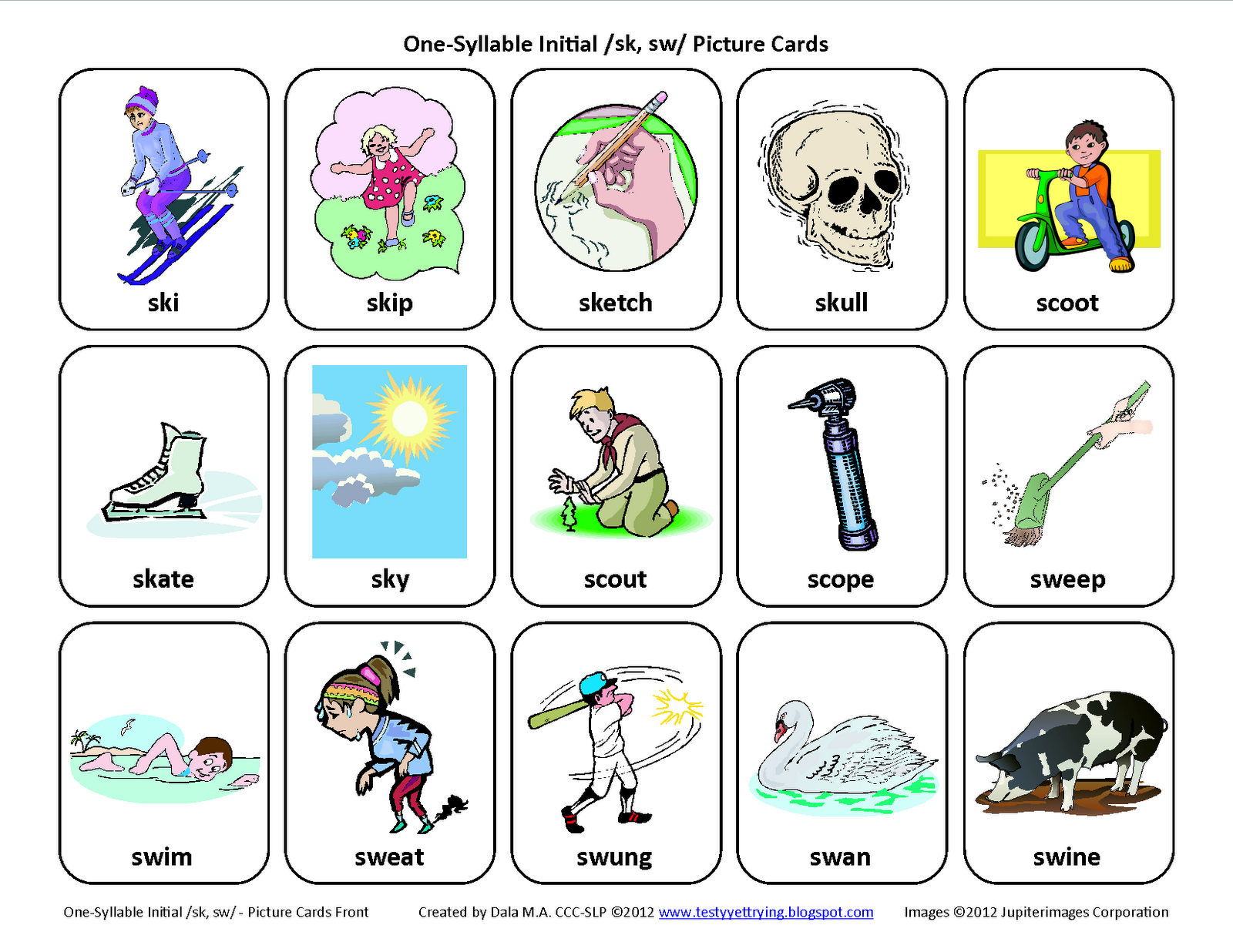 Worksheets Articulation Worksheets s blends sk sw free speech therapy articulation picture cards pinned by please visit for all our pediatric ther