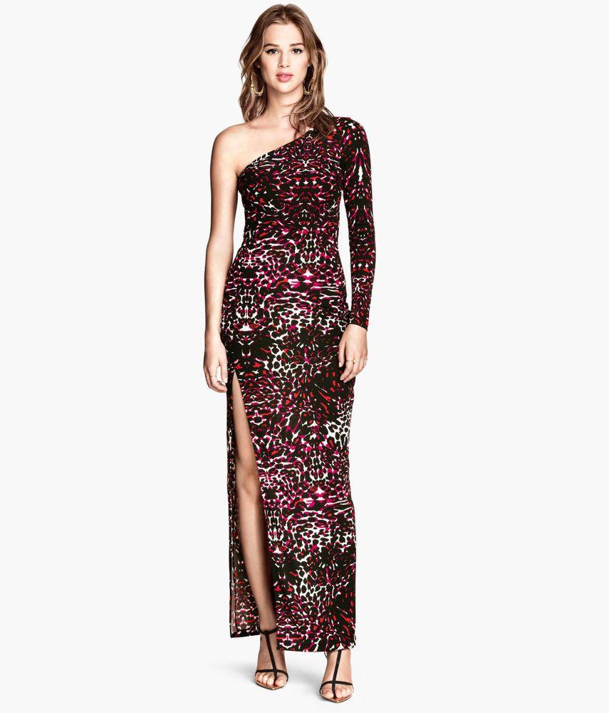 f55780b22ab24 H&M one shoulder leopard print maxi womens dress sz S jersey full-length  holiday #HM #Maxi #Festive