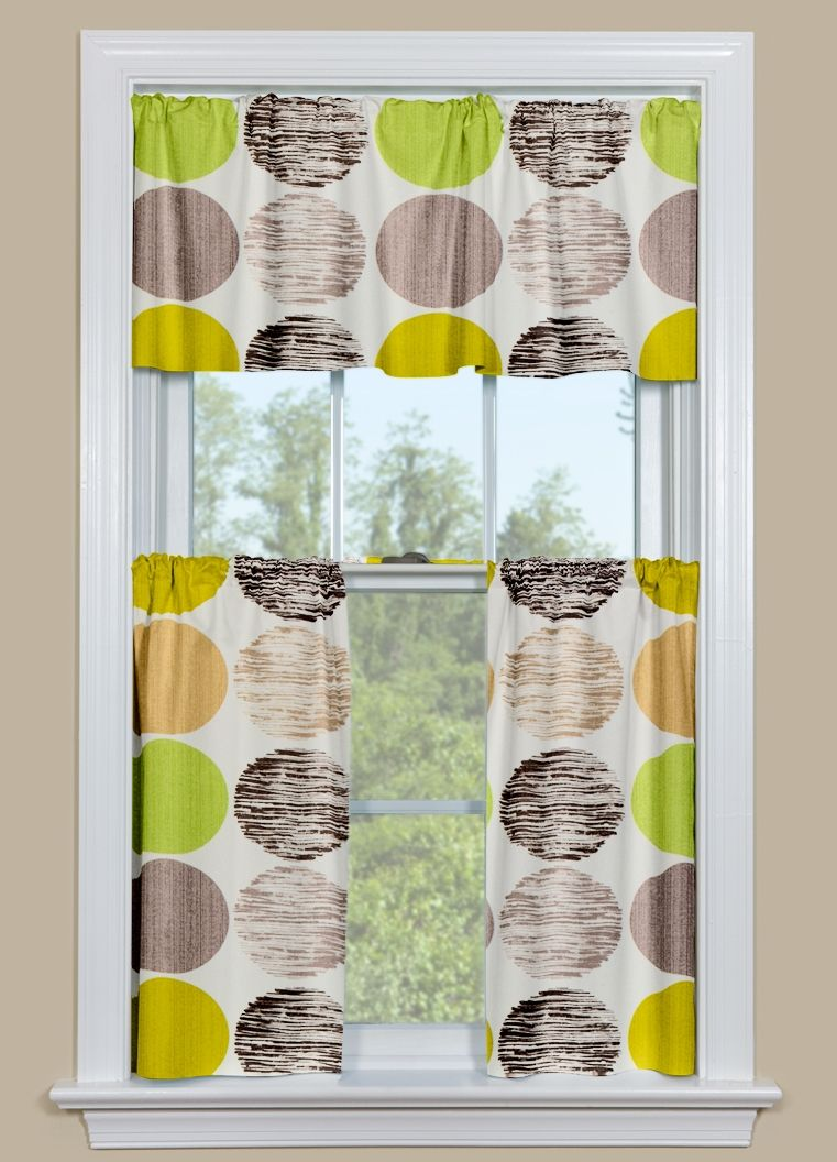 Kitchen Cafe Curtains And Valance With Large Dots In Green And Brown Contemporary Curtains Kitchen Curtains Yellow Kitchen Curtains