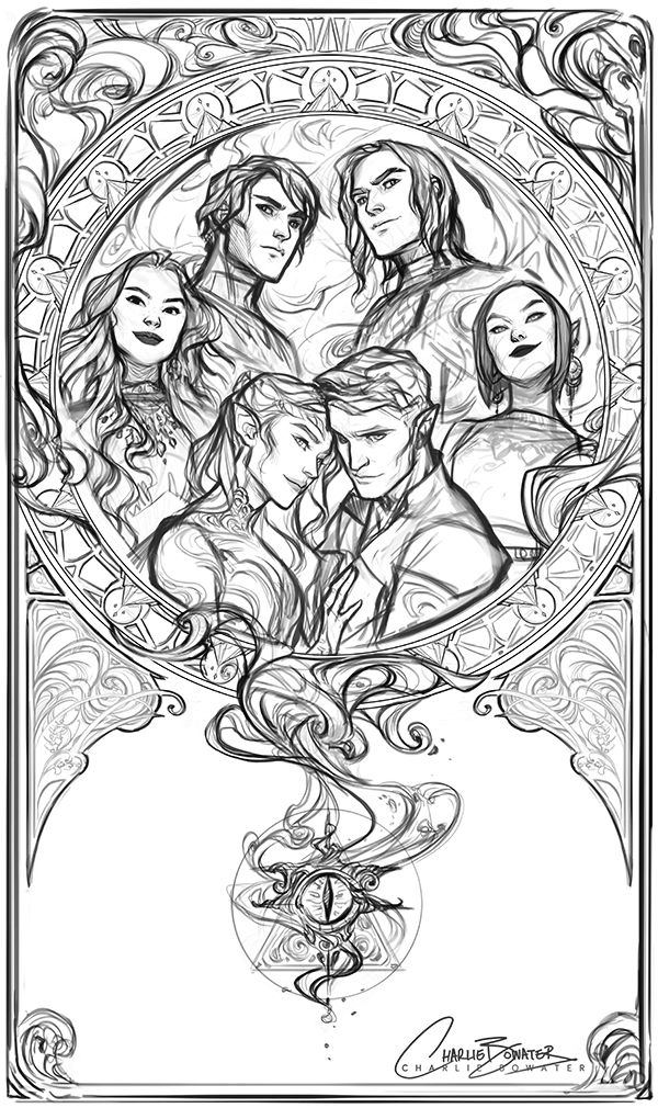 Still A Ton Of Work To Do And Stuff To Fix But The First Sketch For My Mucha Inspired Inner Circle Piece Is D Sketches Coloring Books A Court Of Mist