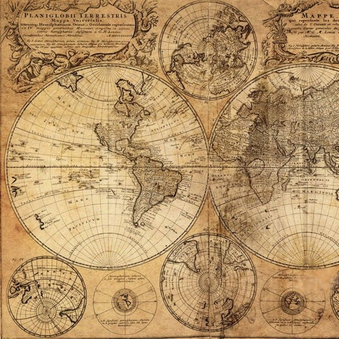 Vintage World Map Canvas Print Projects