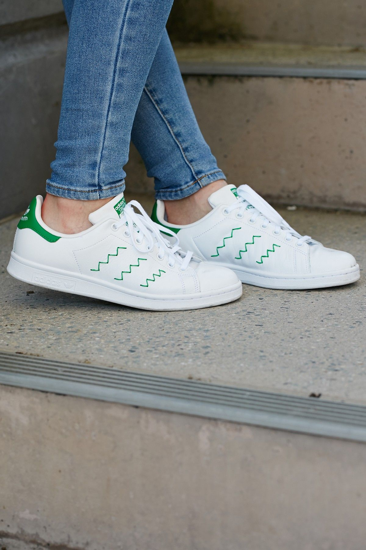 ADIDAS Womens Stan Smith White Green  691aacef3