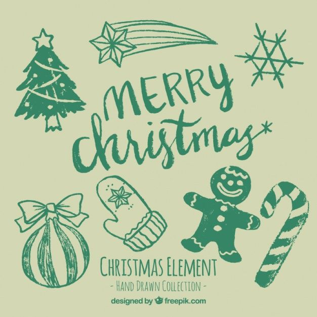 hand drawn christmas ornaments set free vector