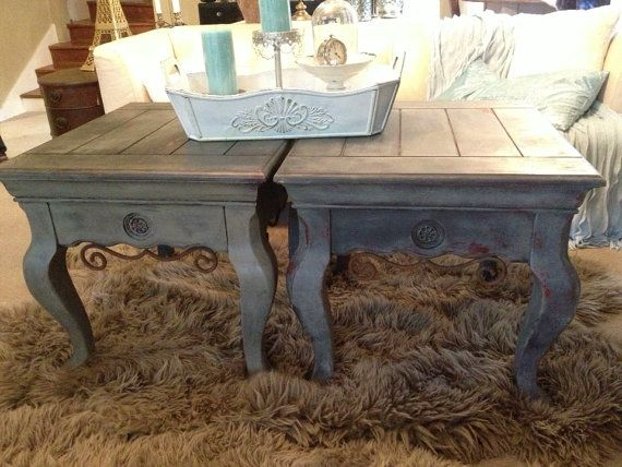 FRENCH PROVINCIAL Solid Wood End Tables Set 2 Gray Chalk Paint