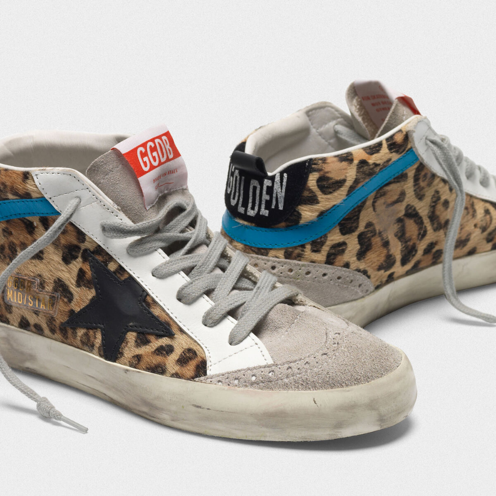Mid Star sneakers in leopard print pony skin