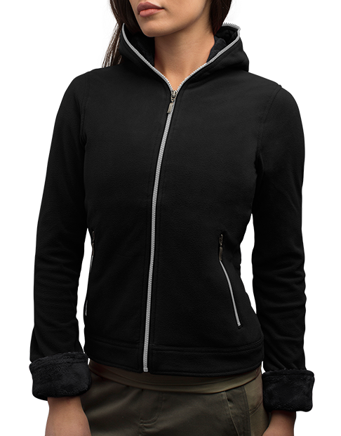 The Chloe Hoodie - The chic and flattering Chloe Hoodie has 14 pockets to keep your essentials organized and secure whether you're out on the town, on the hiking trail or running the kids to school. The 100% poly microfleece lightweight and durable microfleece will keep you toasty on cooler days, with a plush lining in the hood and cuffs for added warmth where you need it.