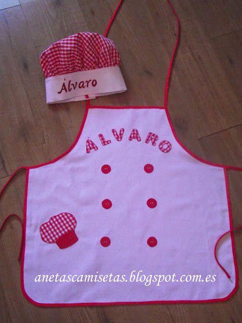 Aneta´s Camisetas: Delantal para niño y gorro de cocinero. Personalizados.