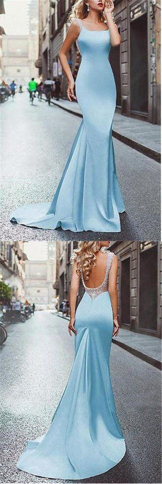 Elegant blue square neckline open back long mermaid prom dresses