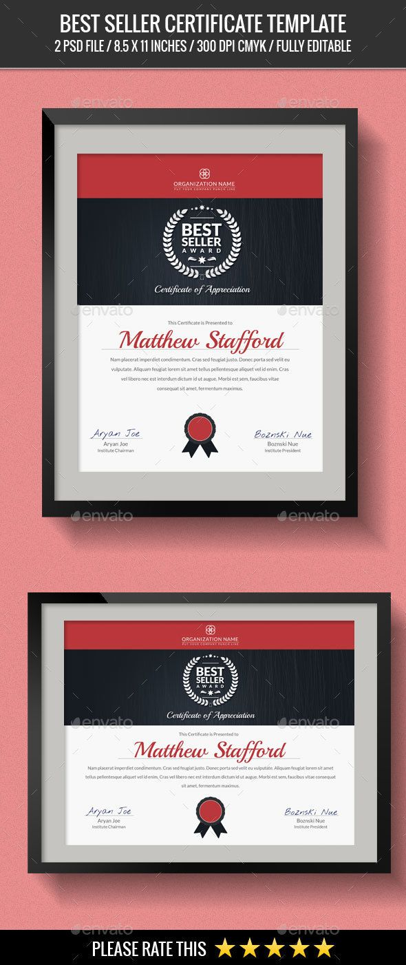 Seller certificates certificate template and infographic templates best seller certificates template psd download here httpgraphicriver yadclub Choice Image