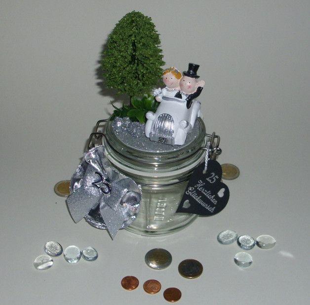 Geldgeschenk Spardose Silberhochzeit 25 Jahre  geld