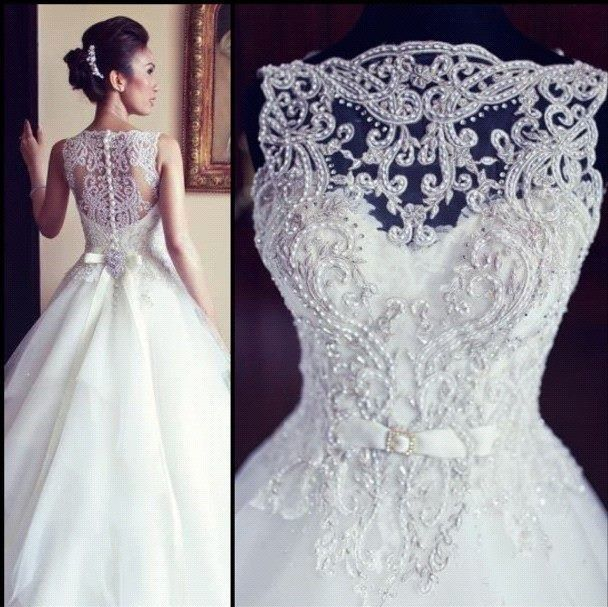 special design bridal gowns on sale 2104 designer beading tulle lace princess wedding dresses