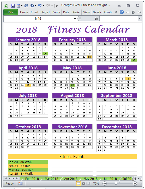 work out calendar for weight loss