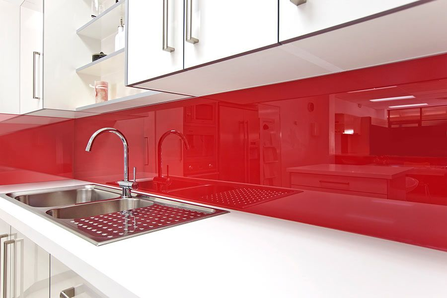 A Red Kitchen Backsplash Really Stands Out This One Is Made From