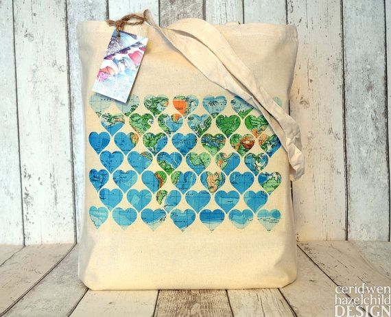 Vintage map hearts tote bag ethically produced reusable shopper bag vintage world map hearts illustration eco cotton tote bag on etsy 1195 gumiabroncs Image collections