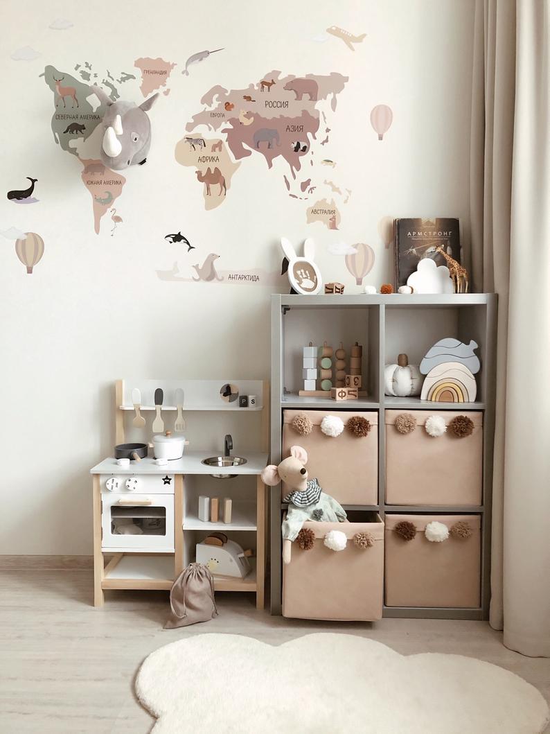 Fabric Toy Storage Box with pompons Pompom Kallax Bin Kallax Basket