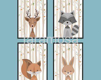 Bild Waldtiere Set 3 Stück A4 Tiere Bär Poster