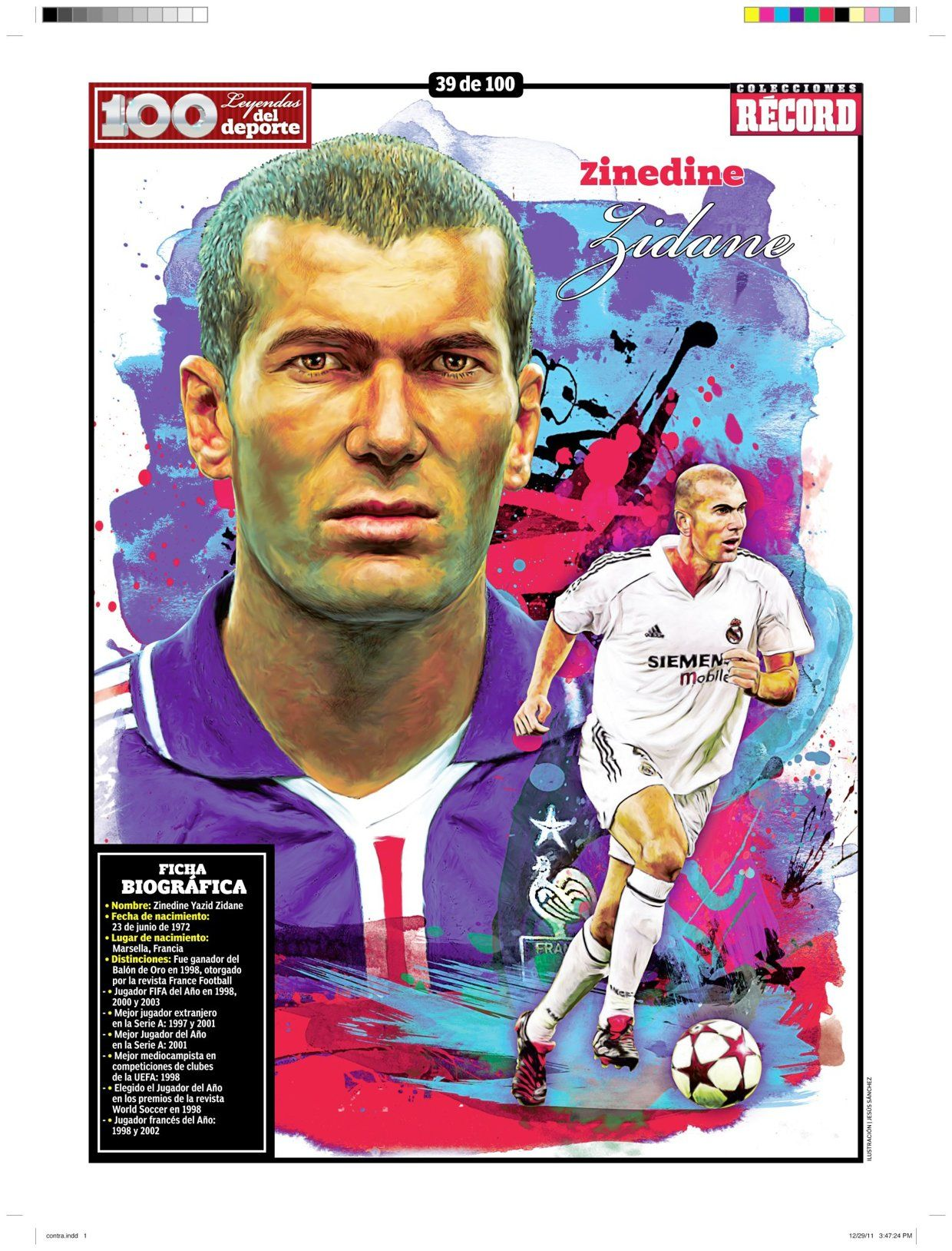 100 Leyendas Del Deporte 100 Sports Legends On Behance Football Soccer Artwork Soccer Art Zinedine Zidane