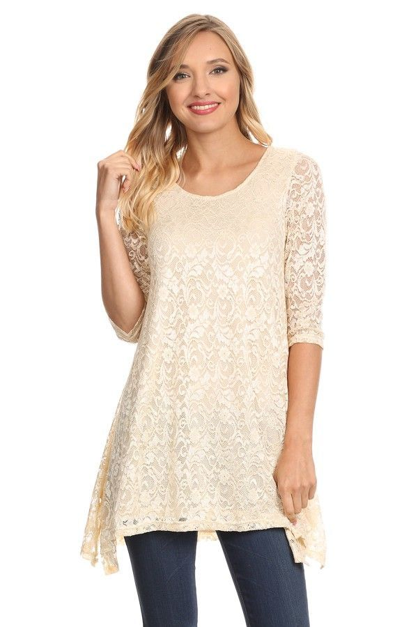 a19e37ba301 Dreamy Cream Lace Tunic Top | top and tunics | Tops, Tunic tops ...