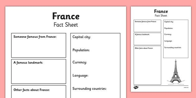 France Factsheet Writing Template - france, france fact sheet ...