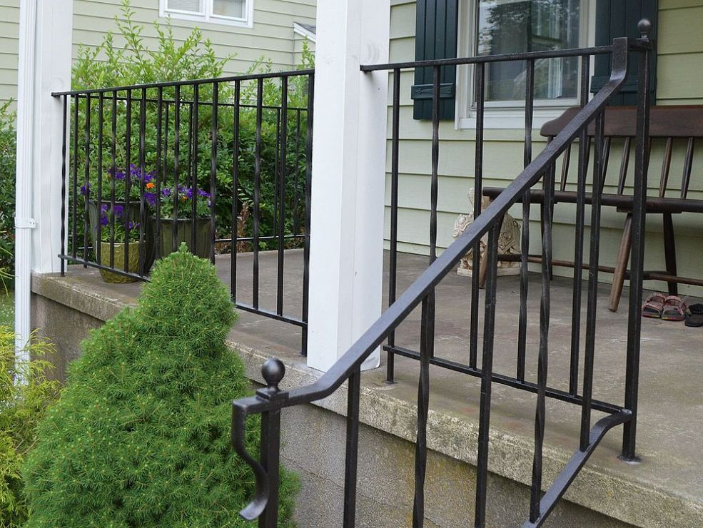 How To Update And Refinish Old Iron Rails Iron Railings Outdoor | Wrought Iron Steps Outdoor | Wood Interior | Current | Iron Handrail | Staircase | Backyard