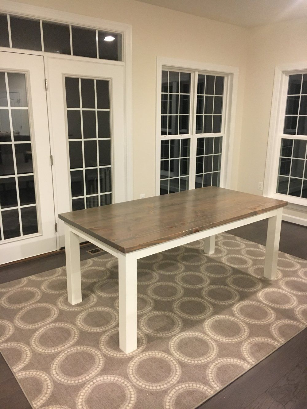 6 farmhouse table classic grey stain white dove paint