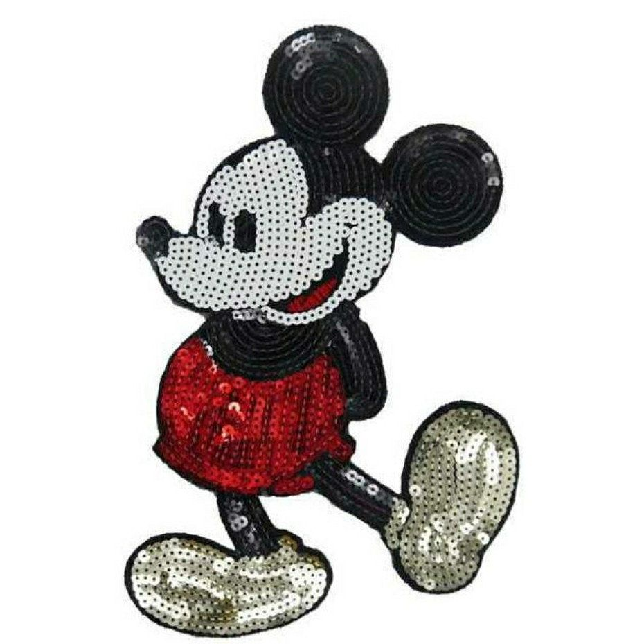 Embroidered on patches for clothes sequins patch cute M Mickey deal with it
