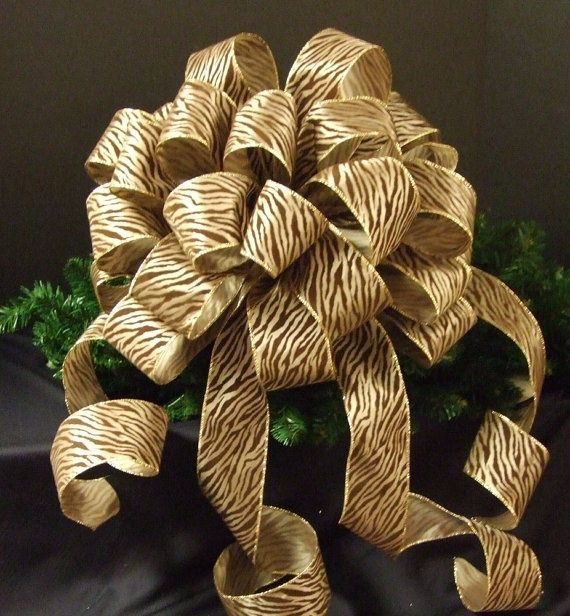 tree top bow for christmas zebra christmas bow topper christmas tree topper large christmas. Black Bedroom Furniture Sets. Home Design Ideas