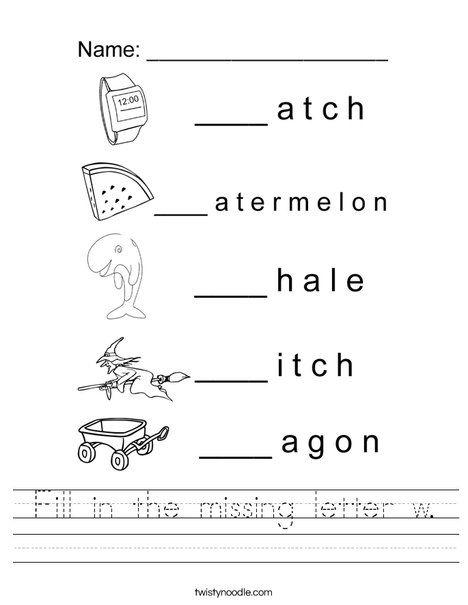 Fill In The Missing Letter W Worksheet Letterw Pinterest