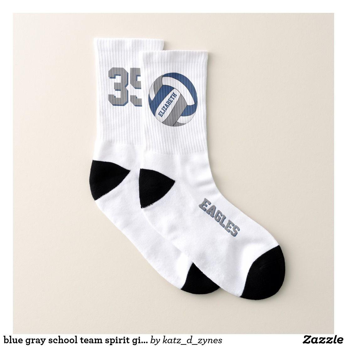 Blue Gray School Team Spirit Girls Volleyball Socks Zazzle Com In 2020 Yellow Team Volleyball Socks Team Colors