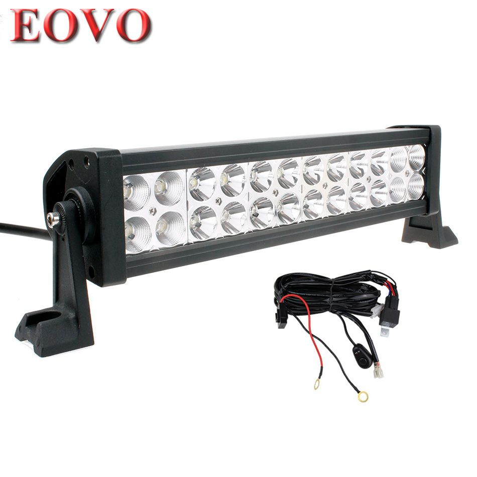 12 Inch 72w Led Light Bar Switch Wiring Kit For Off Road Work Driving Offroad Boat Car Truck 4x4 Suv Atv Spot Flood Combo