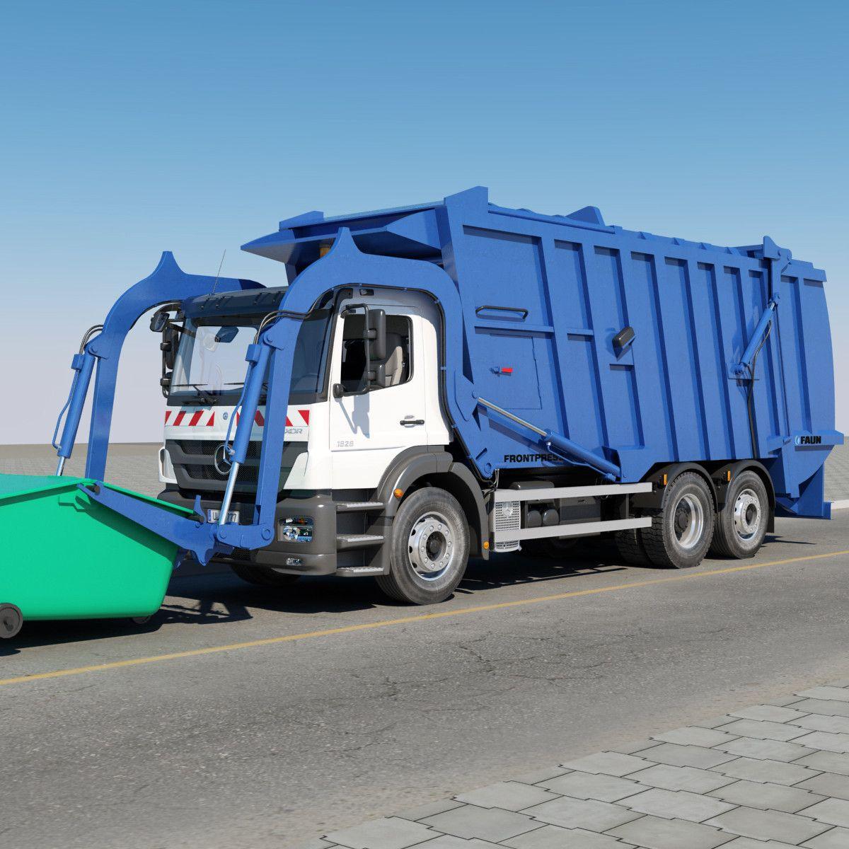 Mercedes benz garbage truck 3d ma