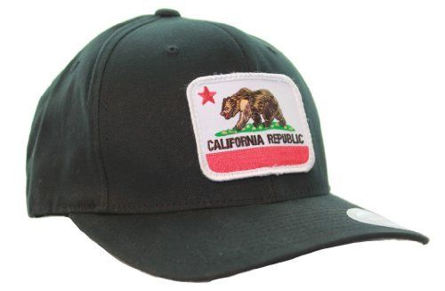 2fbf8c925947e California State Flag Embroidered Patch Flexfit Black Hat - Curve Bill