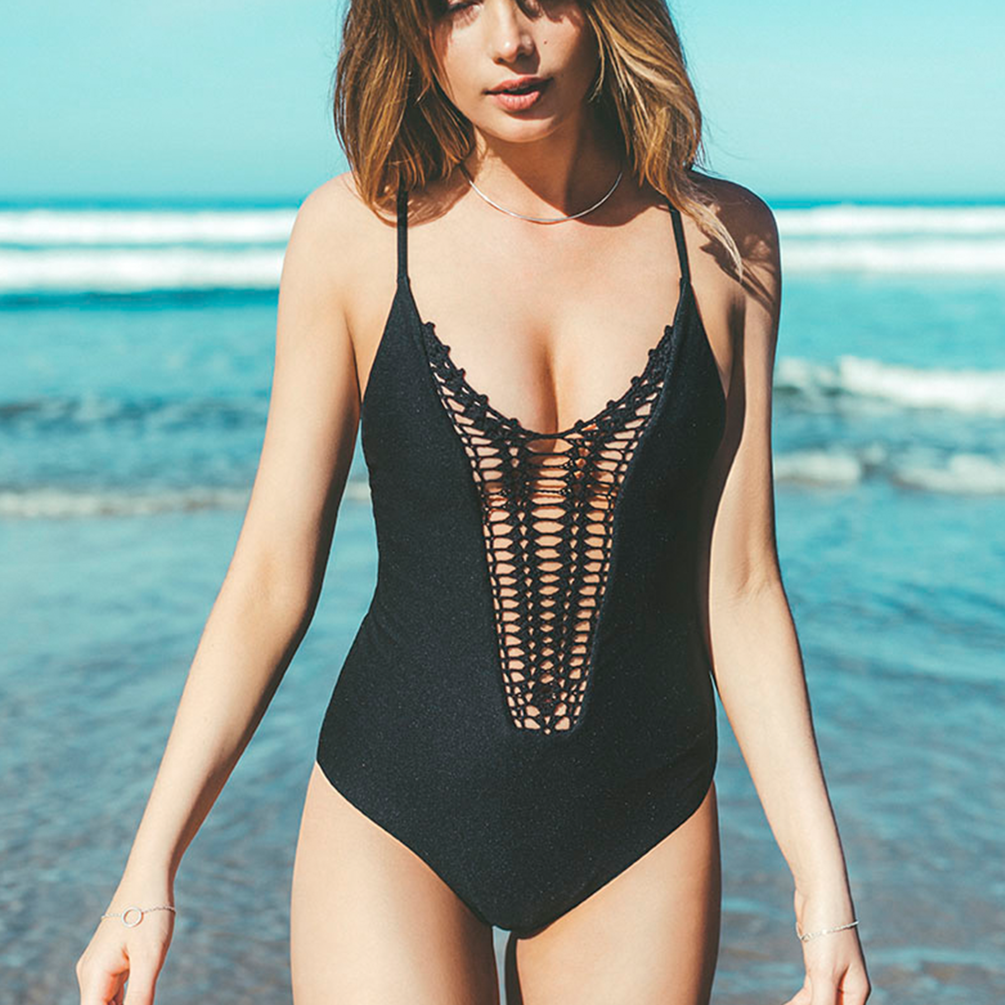 55b2c8dc3b886 Get free shipping at the Billabong online store. Don't act like your wild  side is knot in love with this crochet one piece.