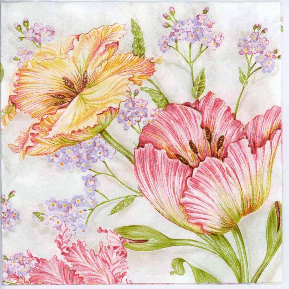 4x Decoupage paper napkins flowers.4 Servilletas de papel decoradas tulipanes
