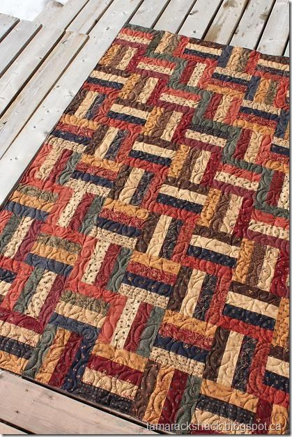 Rail fence with Kansas Troubles fabric | RAIL FENCE QUILTS ... : rail fence quilt block - Adamdwight.com