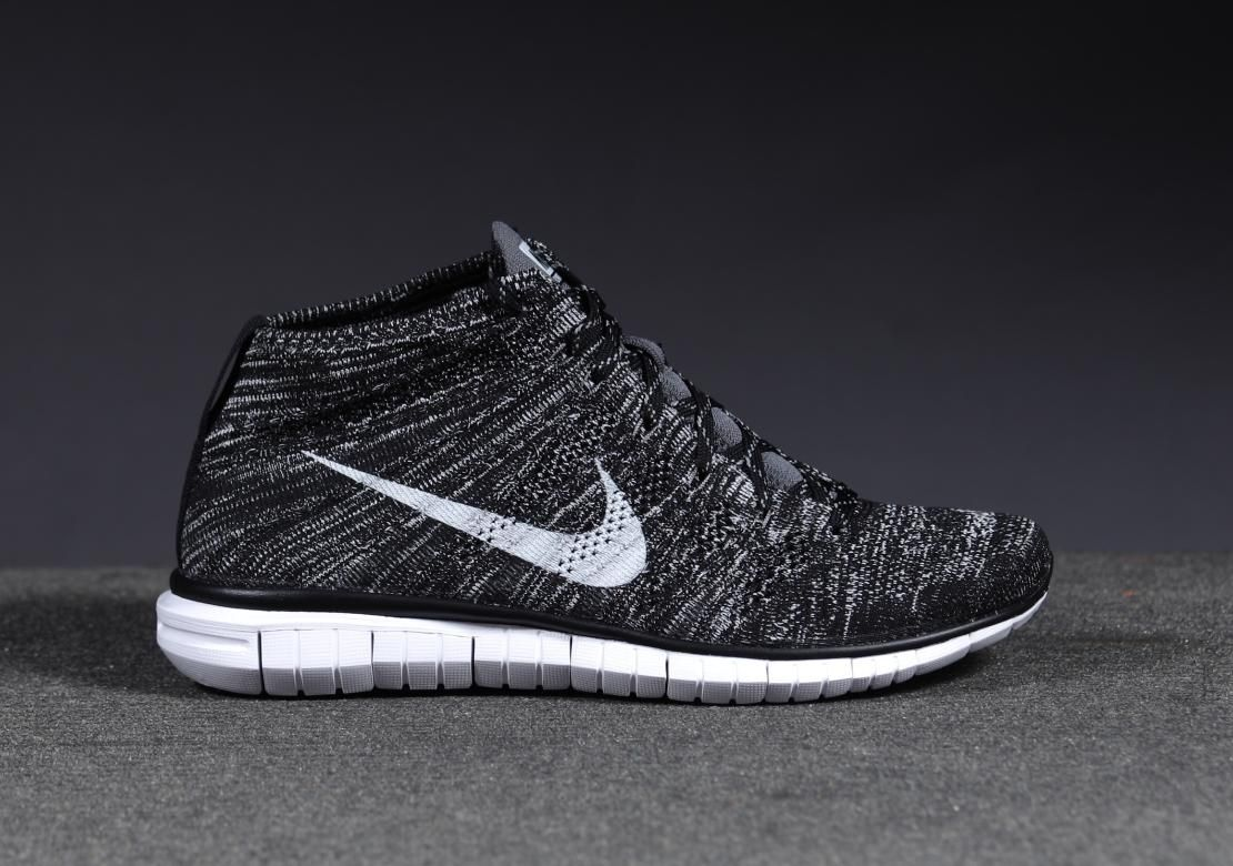 nike free flyknit chukka black&white background
