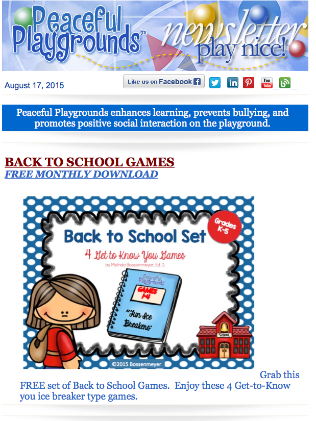 Peaceful Playgrounds Play Nice Newsletter with FREE Download of Back-to-School  Games http