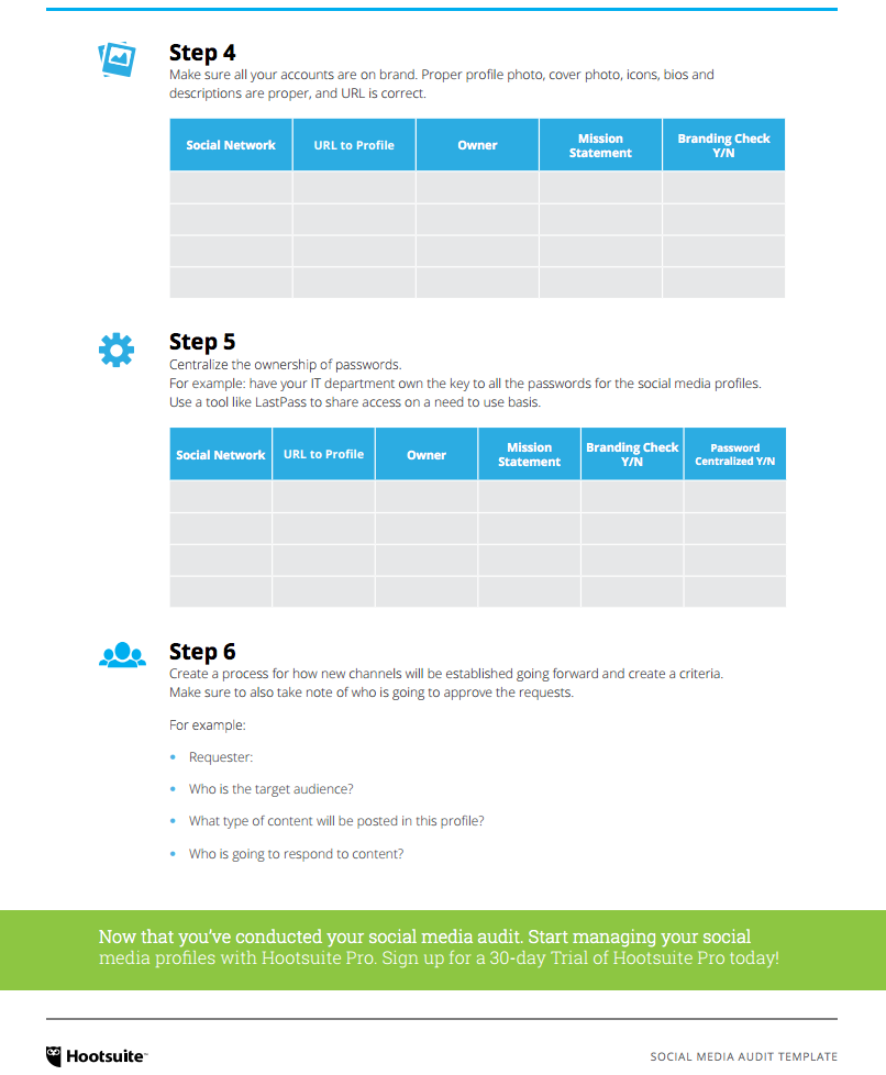 Social Media Audit Template   Social Media  Plan