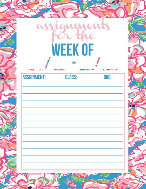 Free printable to keep track of all your assignments! College - printable assignment sheet