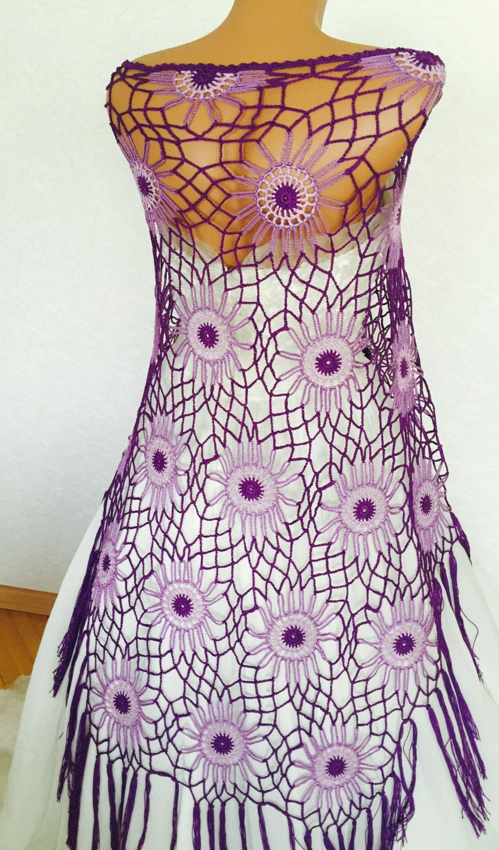 Purple Crochet Shawl | Boho Gypsy Shawl | Hippie Patchwork | All ...