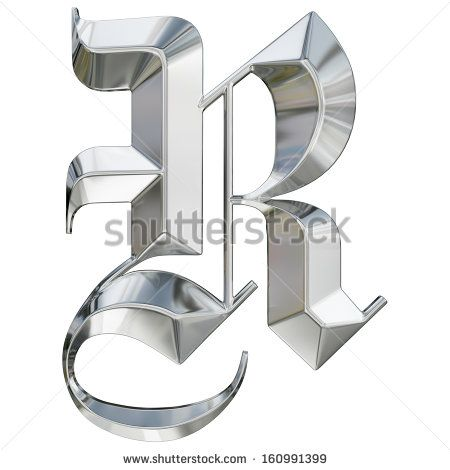German Black Letter Font  Metallic Patterned Letter Of German