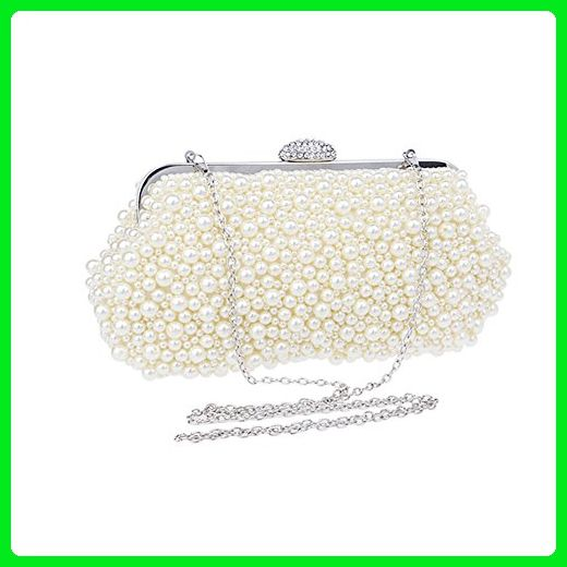 ef96a682dd Deercon Lady Full Pearl Handmade Hard Case Evening Bag Wedding Clutches  Handle Purse(beige yellow) - Evening bags ( Amazon Partner-Link)
