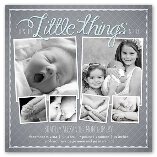 Birth Announcement: The Little Things Boy, Square Corners, Grey
