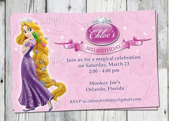 Tangled Birthday Invitation Printable Rapunzel Personalized Invite
