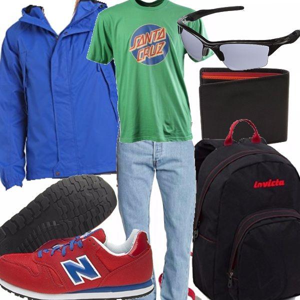 Outfit giovanile pensato per chi abbia voglia di ravvivare una giornata di scuola o una passeggiata con gli amici attraverso colori vivaci che salteranno subito all'occhio.